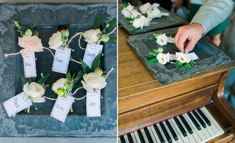 Pierce House Wedding boutonnieres